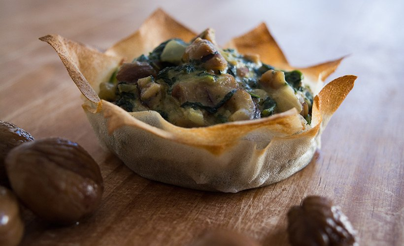 Chestnut and Spinach Tart