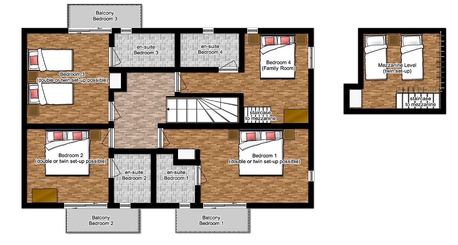 First floor plan of luxury catered chalet in St Martin de Belleville