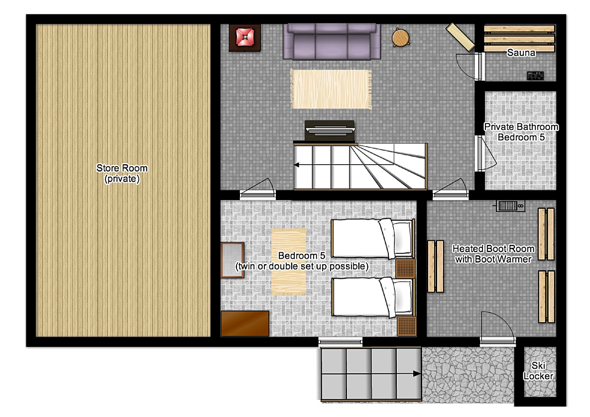 Second floor plan of Chalet Alpage, a luxury catered chalet in St Martin de Belleville