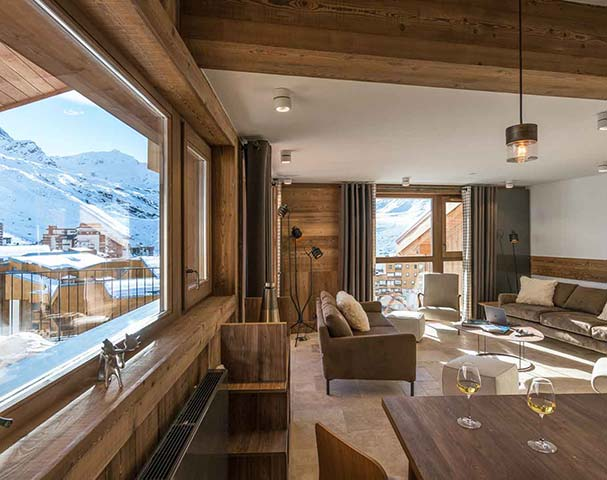 Chalets Cocoon Val Thorens - Living spaces with views to die for! Is this the best apartment in Val Thorens?