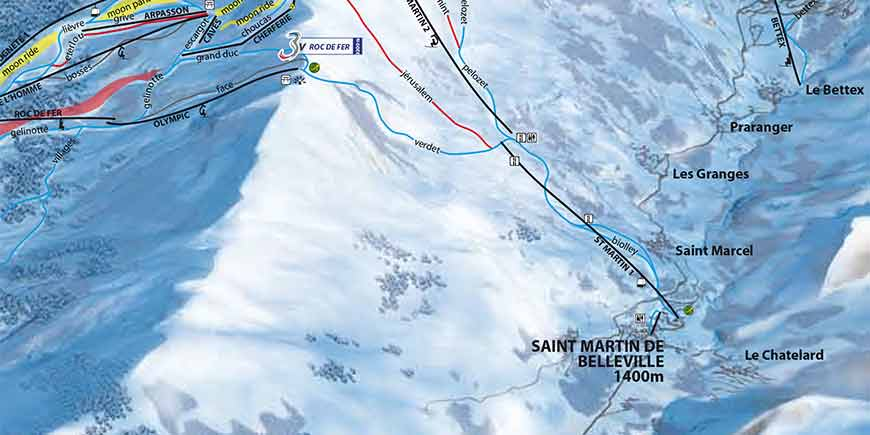 The Latest St Martin de Belleville Piste Map PDF Covering Saint Martin de Belleville, Les Menuires and Val Thorens