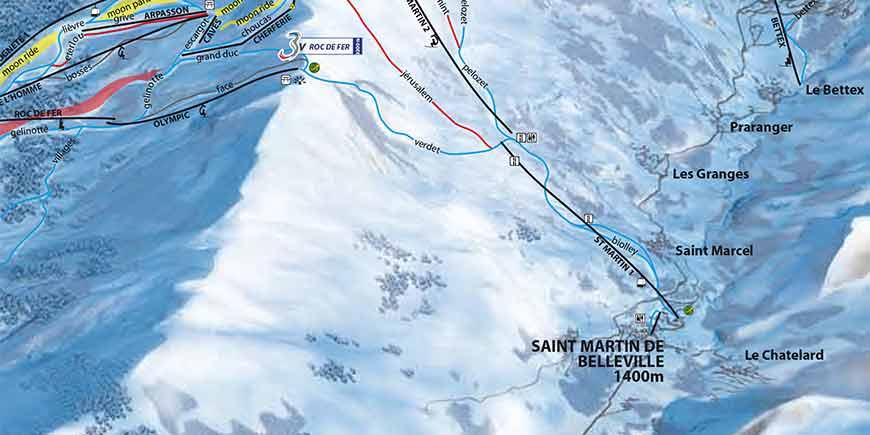 St Martin de Belleville Ski Resort and Piste Map