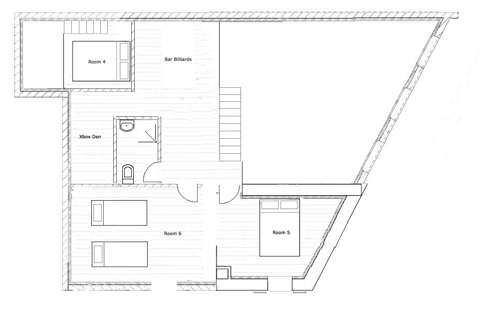 Second floor plan of Chalet Broski, a luxury catered chalet in St Martin de Belleville